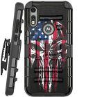 Holster Case For Motorola Moto E (2020) Phone Cover - MELTING SKULL US FLAG