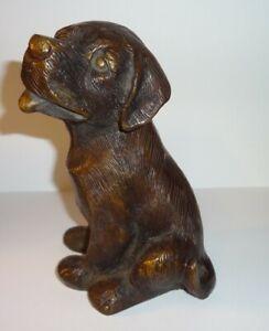 Bronze Labrador Retriever Puppy Dog Sculpture Unsigned