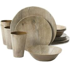 Melamine Dinnerware Set For 4 Plates Dishes Salad Bowls Mugs Cups 16 Piece Wood