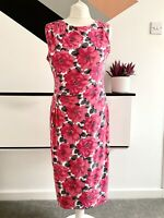 PHASE EIGHT Dress Size 14 PINK FLORAL SMART Occasion WEDDING Cruise RACES WIGGLE
