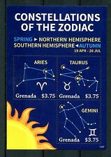 Grenade 2013 neuf sans charnière constellations du zodiaque 3v ms ii étoiles aries taurus gemini timbres