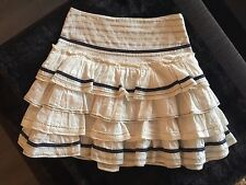 MNG Collection White Cotton Ruffle Tierred Skirt w/ Blue Stripes