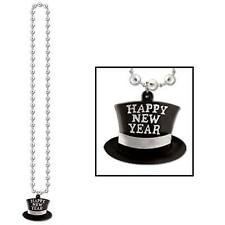 Silver Beads with Happy New Year Top Hat Medallion