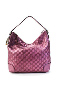 Gucci Guccissima Leather Heart Bit Hobo Handbag Pink