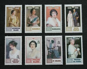 BR. COMM. - 1990 SCARCE QUEEN MOTHER 90th BIRTHDAY X8 DIFF COLONIES MNH LOT RR
