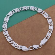 Silver Plated  Bracelet Bangle with Chunky Flat Links.20cm/8 inch.925 Sterling