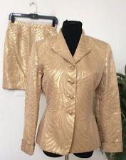Albert Nipon Evening Women's Gold Polyester Blend 2 Piece Pant Suit Size 6 EUC!