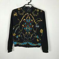 Sweet Rain Lightweight Bomber Jacket Womens Size M Black Teal Gold Chain Hearts