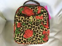 BETSEY JOHNSON SMALL BACKPACK PURSE BAG LEOPARD WITH ROSES AND SIGNATURE BOW