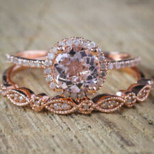 ROSE GOLD FILLED PASTEL PINK CUBIC ZIRCONIA DOUBLE RING SET SIZE O LAST 1 !