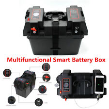 Marine Smart Battery Box with Voltmeter Guage,cig, USB Sockets Car Boat RV Truck