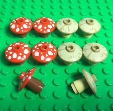 Lego X10 New Red / Tan Dish With Mushroom Pattern / Mini Figures Foods Plant Lot