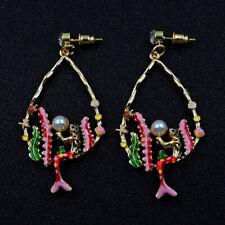 Women Betsey Johnson Red Rare Rhinestone Mermaid Drop Earrings Fashion Jewelry