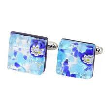Square Cufflinks - Aqua Blue GlassOfVenice Murano Glass Venetian Classic