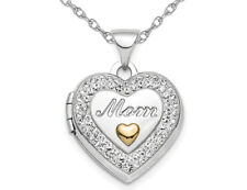 Plata esterlina mamá Corazón Medallón con Cadena de Cristal