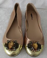 J CREW COLLECTION NORA JEWELED CAP TOE BALLET FLATS SAND BROWN Size 6 99040