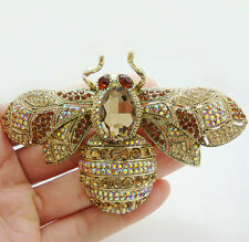 Vintage Retro Style Bee Insect Gold-tone Brooch Pin Brown Crystal Rhinestone