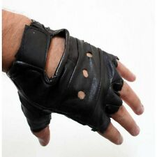 Fingerless Leather Gloves with Wrist Strap Wheelchair Gym Workout Training Sport