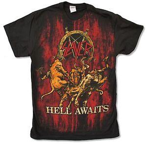 Slayer Hell Awaits Jumbo Print Black T Shirt New Official Thrash Metal