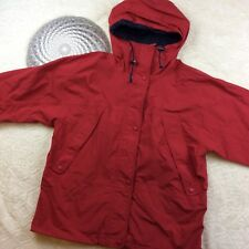 Eddie Bauer Womens Hooded Rain Jacket 100% Nylon Coat Red Size Small