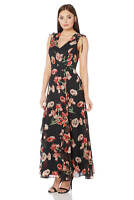 Roman Originals Womens Red V-Neck Frill Poppy Maxi Dress Sizes 10-20