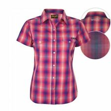 Checked Short Sleeve Button Down Shirts for Women