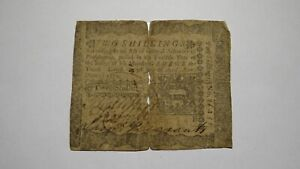 1772 Two Shillings Pennsylvania PA Colonial Currency Bank Note Bill RARE 2s