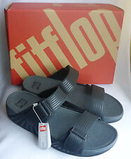 New Fitflop Gogh Moc Pool Slide Adjustable Black Mens Sandals Beach Boxed Sz 11