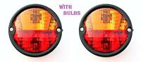 2x Vintage Rear Tail Lamp Light with Licence Plate window Tractor Trailer Truck