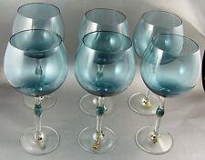 6 Large Blue Wine Goblets w Wine Theme Glass Charms 20 Oz