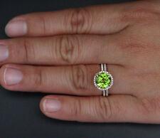 2.5CT Green Peridot New 14K Rose Gold Over Halo Wedding 2 Pcs Bridal Ring Set