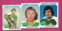 1975-76 TOPPS NORTH STARS SATHER + HICKE + HEXTALL EX-MT CARD  (INV# A8405)