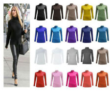 LADIES LONG SLEEVE POLO NECK ROLL NECK TOP WOMENS TURTLE NECK PLAIN JUMPER NEW