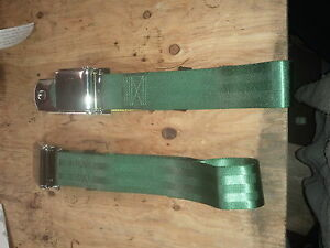 green chrome latch air craft style buckle lap seatbelts buick amc ford mopar gmc