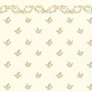 Melody Jane Puppenhaus Miniatur Druck Weihnachten Stechpalme Mit Beeren Tapete
