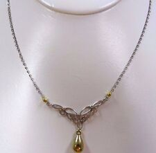 10k Yellow Gold and Sterling Silver Necklace & Pendant