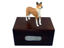 Beautiful Paulownia Wooden Personalized Urn With Collie Smooth Hair Figurine