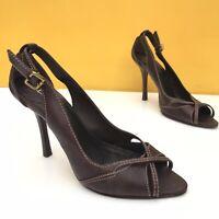 Aldo Heels Brown Leather Slingback Peep Toe Sandals UK7 EUR40 VGC High Heels