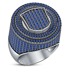 3 Ct Blue sapphire Pinky Ring Men's 14K White Gold Finish Round Cut Wedding Band