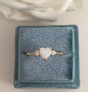 Vintage Jewellery Claddagh Gold Ring Opal Love Heart Antique Deco Jewelry 8 Q
