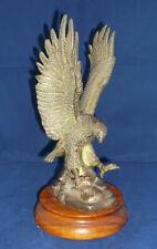 More details for vintage brass eagle ornament on wooden base