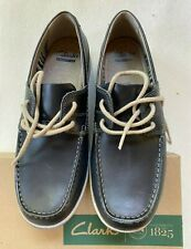 New Clarks Leather Lace Up Mens Fallston Style Navy Dark Blue SZ 8M