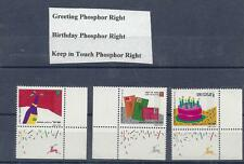 ISRAEL stamps 1991 Greeting  set of 3 stamps all Phosphor Right MNH with tab