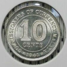 *SUPERB Grade* 1941 - Malaya - 10 Cents George VI Silver #CIP