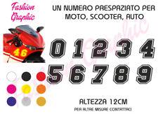ADESIVO NUMERO 12CM GARA NASCAR CORSA MOTO SCOOTER AUTO MODELLO STICKER TUNING