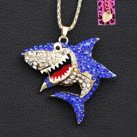 Women's Enamel Crystal Shark Pendant Sweater Chain Betsey Johnson Necklace Gift