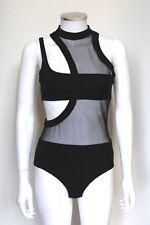 Daivd Koma Black Mesh Cut Out BodySuit Top UK 10