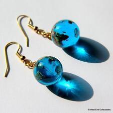 13mm Planet Earth Glass Marble Earrings - Telescope Astronomy Globe Ear Rings