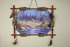 Wolf Pack Picture Dream Catcher Wall Hanging Canvas 16x22 Beads Feathers Framed