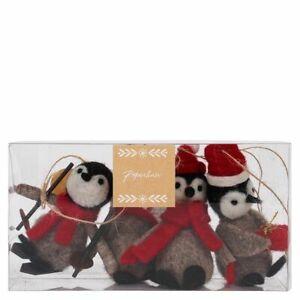 Christmas Tree Decoration box set - 4 x Felt Penguin set - Paperchase - (8130)